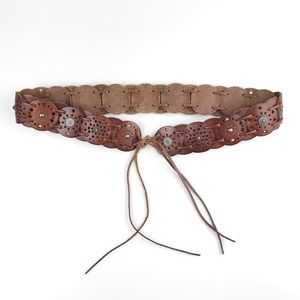 Fossil Brown Leather Disk Boho Belt